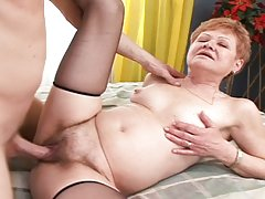 This blonde granny is just ready and perfectly wet for sex!