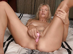 Granny with small tits horny blonde solo striptease
